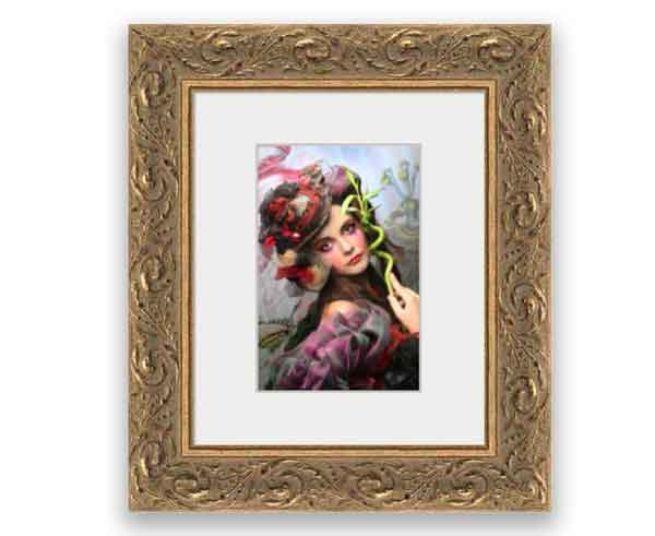 Small 4x6 Print in small elaborate frame that could be placed on any end table, shelf or desktop.